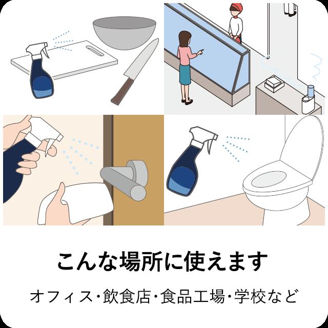 こんな場所に使えます 調理器具や設備の除菌・洗浄
